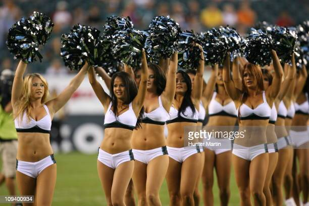 The Philadelphia Eagles cheerleaders perform during a preseason game against the New York Jets on September 2 2010 at Lincoln Financial Field in...