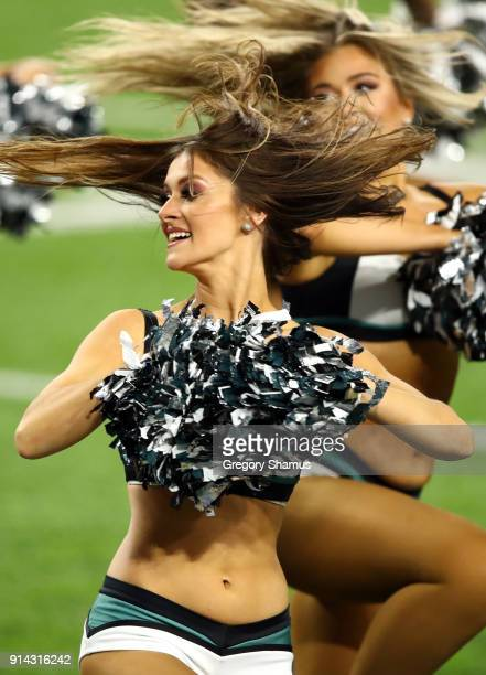 The Philadelphia Eagles cheerleaders perform during Super Bowl LII against the New England Patriots at US Bank Stadium on February 4 2018 in...