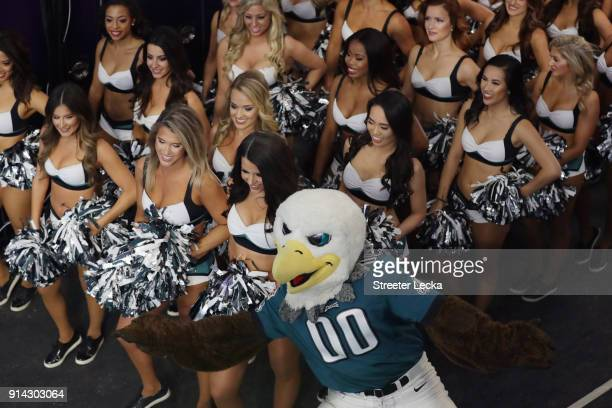 The Philadelphia Eagles cheerleaders take the field prior to Super Bowl LII against the New England Patriots at US Bank Stadium on February 4 2018 in...
