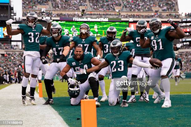 The Philadelphia Eagles defense pose for a picture after an interception by Rodney McLeod in the second quarter against the New York Jets at Lincoln...