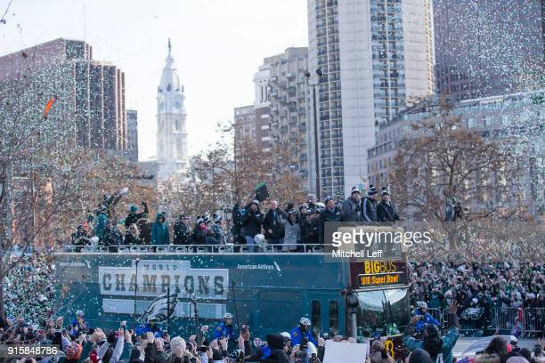 The Philadelphia Eagles drive around the city during the Super Bowl LII parade on February 8 2018 in Philadelphia Pennsylvania