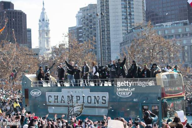 The Philadelphia Eagles drive around the city during the Super Bowl LII parade on February 8 2018 in Philadelphia Pennsylvania