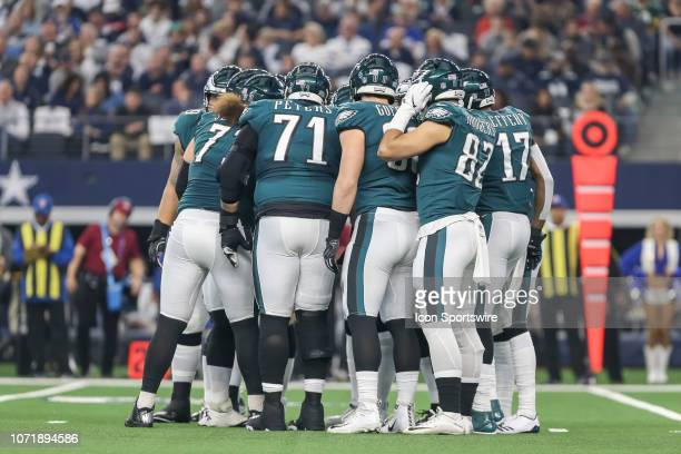The Philadelphia Eagles huddle during the game between the Dallas Cowboys and the Philadelphia Eagles on December 9 2018 at ATT Stadium in Arlington...