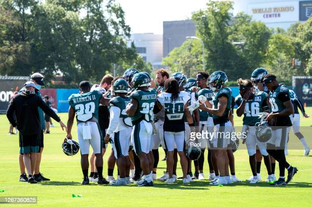 The Philadelphia Eagles huddle during training camp at NovaCare Complex on August 18, 2020 in Philadelphia, Pennsylvania.