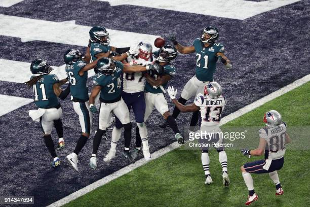 The Philadelphia Eagles intercept an incomplete pass intended for Rob Gronkowski of the New England Patriots to win Super Bowl LII 4133 at US Bank...