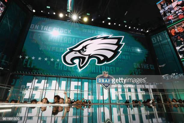 The Philadelphia Eagles logo is seen on a video board during the first round of the 2018 NFL Draft at ATT Stadium on April 26 2018 in Arlington Texas