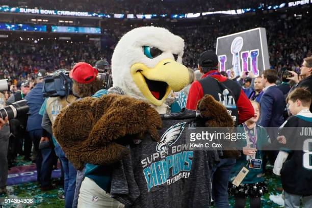 The Philadelphia Eagles mascot celebrates after defeating the New England Patriots in Super Bowl LII at US Bank Stadium on February 4 2018 in...