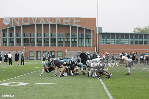 The Philadelphia Eagles offense and defense line up during mini camp on May 3 2008 at the NovaCare Complex in Philadelphia Pennsylvania