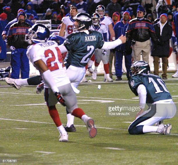 The Philadelphia Eagles placekicker David Akers kicks a 34 yard field goal to win the game against the New York Giants 2421 with less than 10seconds...