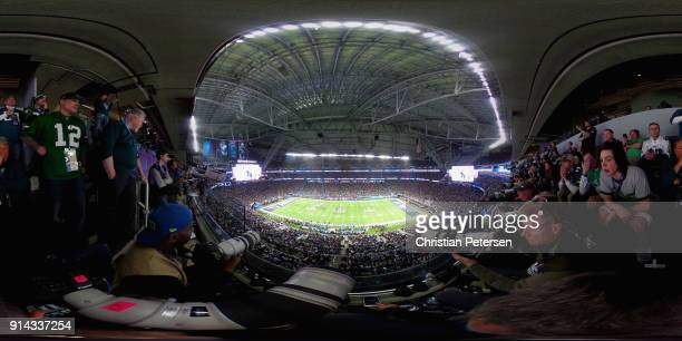The Philadelphia Eagles play the New England Patriots in third quarter of Super Bowl LII at U.S. Bank Stadium on February 4, 2018 in Minneapolis,...