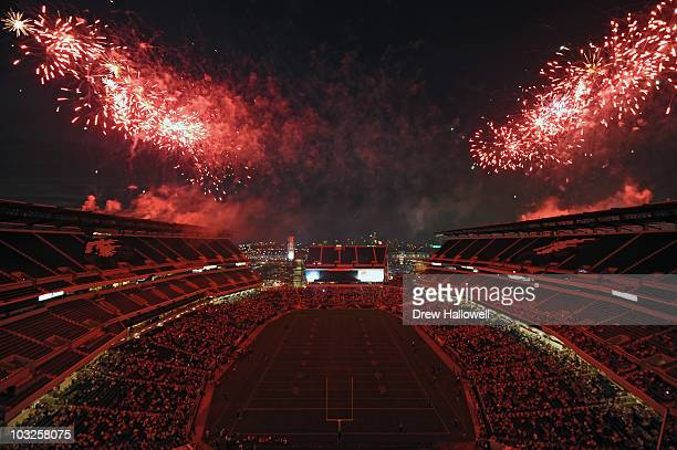 The Philadelphia Eagles put on a fireworks display after training camp on August 5 2010 at Lincoln Financial Field in Philadelphia Pennsylvania The...