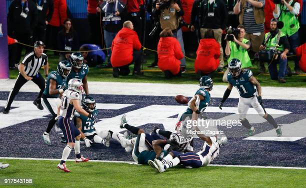 The Philadelphia Eagles secondary breaks up a pass to Rob Gronkowski of the New England Patriots during the final play of Super Bowl LII at US Bank...