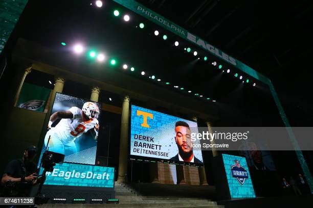 The Philadelphia Eagles select Derek Barnett from Tennessee with the 14th pick at the 2017 NFL Draft at the NFL Draft Theater on April 27 2017 in...