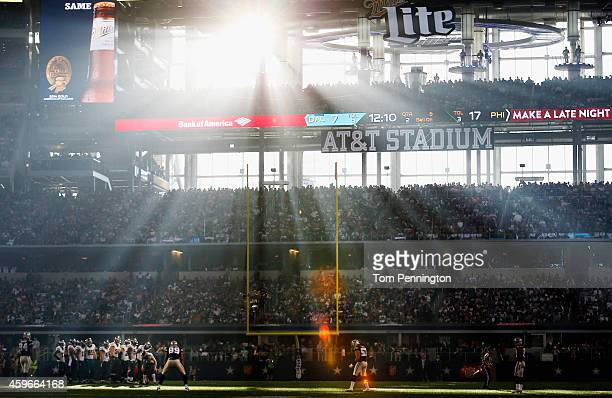 The Philadelphia Eagles take on the Dallas Cowboys in the second quarter at ATT Stadium on November 27 2014 in Arlington Texas
