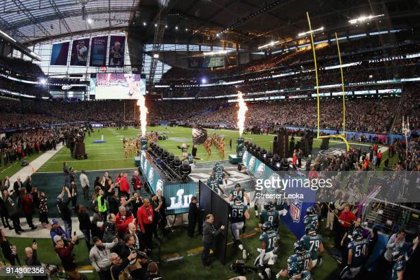 The Philadelphia Eagles take the field prior to Super Bowl LII against the New England Patriots at U.S. Bank Stadium on February 4, 2018 in...