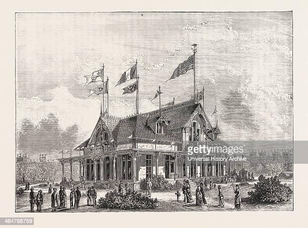 The 'singer' Sewing Machine Pavilion Engraving 1876 Us USA America United States