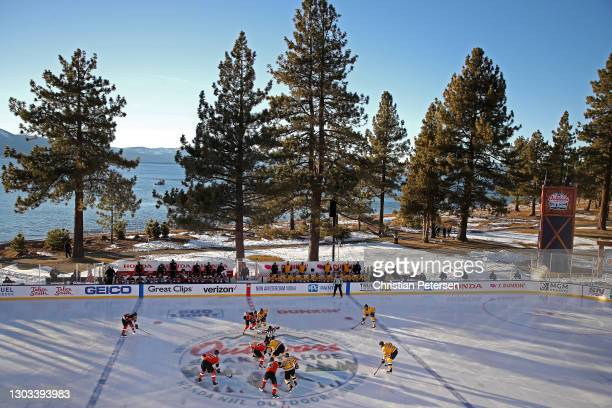 The Philadelphia Flyers and Boston Bruins set for the opening faceoff during the 'NHL Outdoors At Lake Tahoe' at the Edgewood Tahoe Resort on...