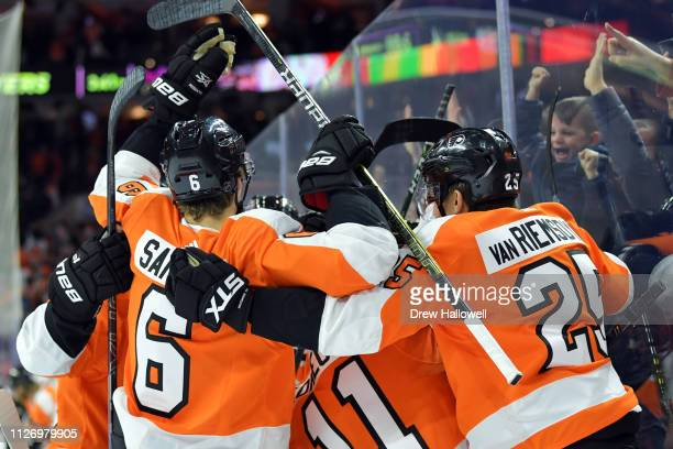 The Philadelphia Flyers celebrate a 54 overtime win against the Edmonton Oilers at Wells Fargo Center on February 02 2019 in Philadelphia Pennsylvania