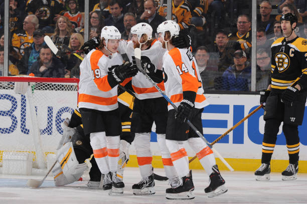 The Philadelphia Flyers celebrate a goal against the Boston Bruins at the TD Garden on March 8, 2018 in Boston, Massachusetts.
