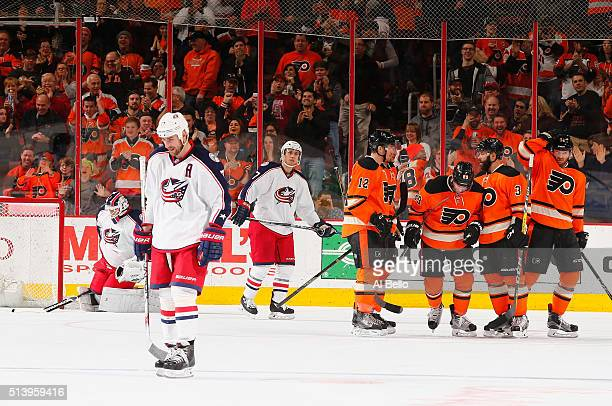 the Philadelphia Flyers celebrate a goal by Radko Gudas against Curtis McElhinney of the Columbus Blue Jackets during their game at the Wells Fargo...