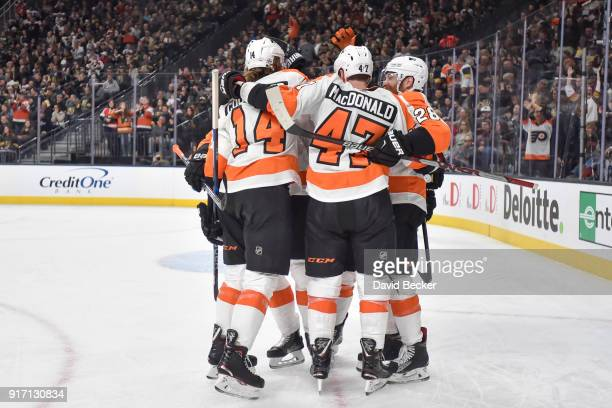The Philadelphia Flyers celebrate after scoring a goal against the Vegas Golden Knights during the game at TMobile Arena on February 11 2018 in Las...