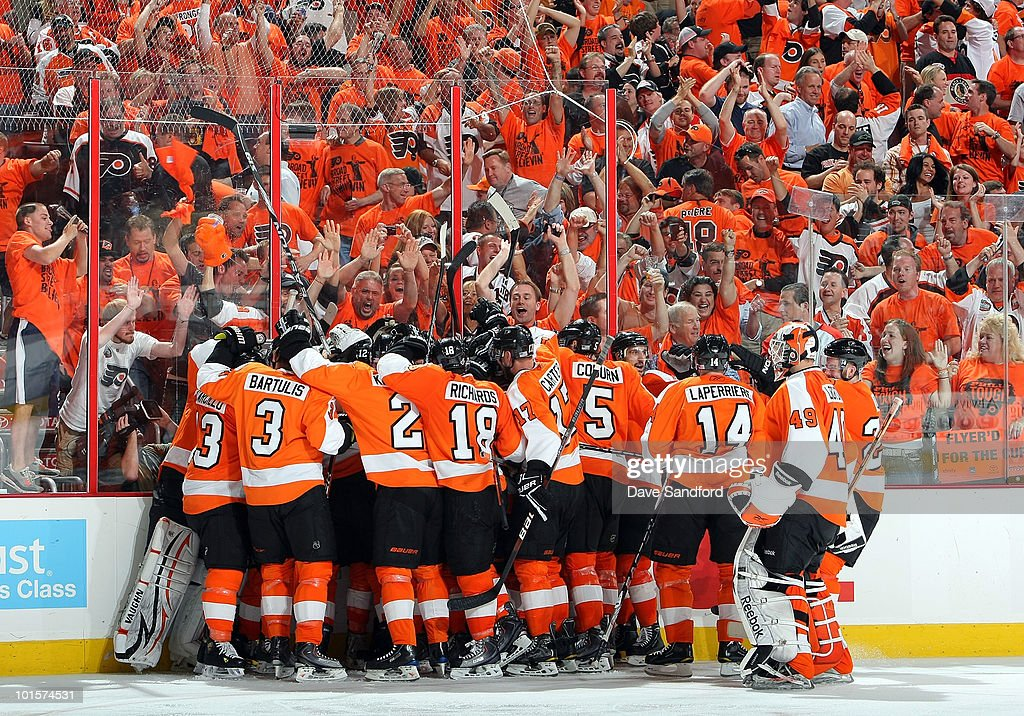 The Philadelphia Flyers celebrate their 4-3 victory over the Chicago Blackhawks with a goal by Claude Giroux #28 in overtime of Game Three of the 2010 NHL Stanley Cup Finals at Wachovia Center on June 2, 2010 in Philadelphia, Pennsylvania.