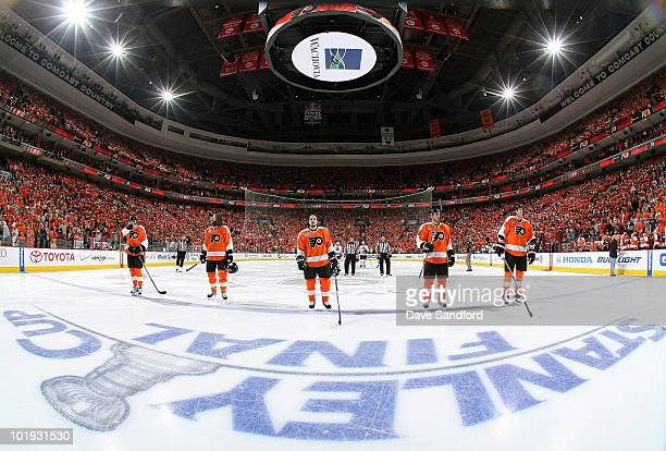 The Philadelphia Flyers line up on the ice during the National Anthem before Game Six of the 2010 NHL Stanley Cup Finals against the Chicago...