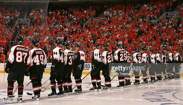 The Philadelphia Flyers line up prior to their opening game of the season against the New York Rangers on October 5 2005 at the Wachovia Center in...