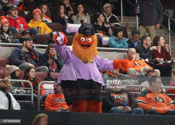 The Philadelphia Flyers mascot Gritty entertains fans during the game against the Ottawa Senators at the Wells Fargo Center on November 27 2018 in...