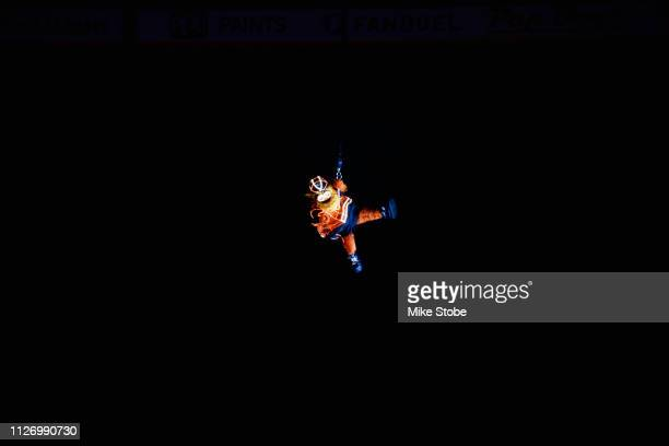 The Philadelphia Flyers mascot Gritty rappels down to the ice before the 2019 Coors Light NHL Stadium Series game between the Pittsburgh Penguins and...