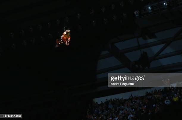 The Philadelphia Flyers mascot Gritty repels down to the ice before the 2019 Coors Light NHL Stadium Series game between the Pittsburgh Penguins and...