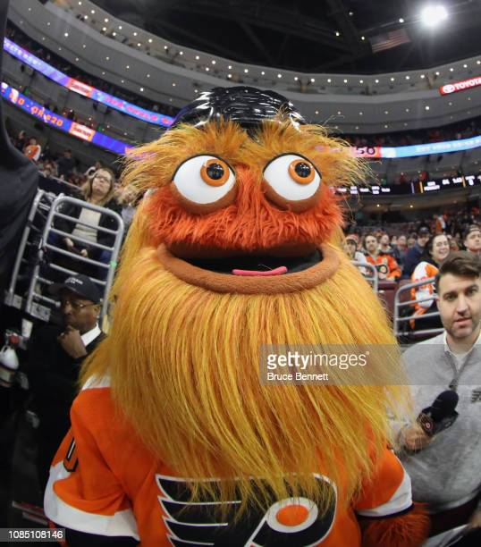 The Philadelphia Flyers mascot Gritty watches the first period against the Nashville Predators at the Wells Fargo Center on December 20 2018 in...