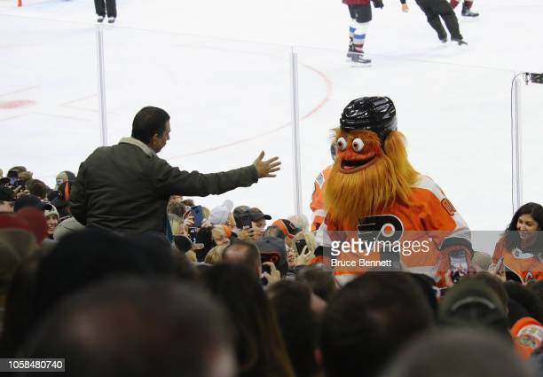 The Philadelphia Flyers mascot 'Gritty' works the crowd during the game against the Colorado Avalanche at the Wells Fargo Center on October 22 2018...
