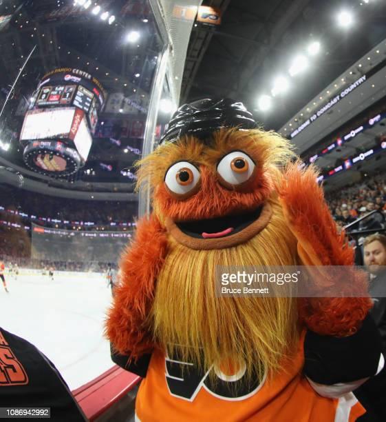 The Philadelphia Flyers mascot Gritty works the game against the Nashville Predators at the Wells Fargo Center on December 20 2018 in Philadelphia...