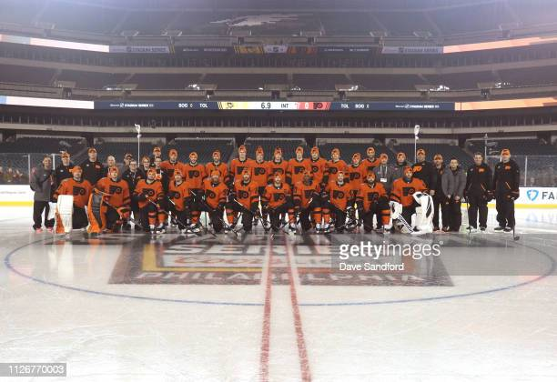 The Philadelphia Flyers pose for a team photo prior to a practice session at Lincoln Financial Field on February 22 2019 in Philadelphia Pennsylvania