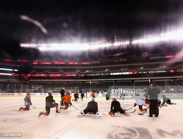 The Philadelphia Flyers practice prior to Saturday's 2019 Coors Light NHL Stadium Series game at the Lincoln Financial Field on February 22 2019 in...