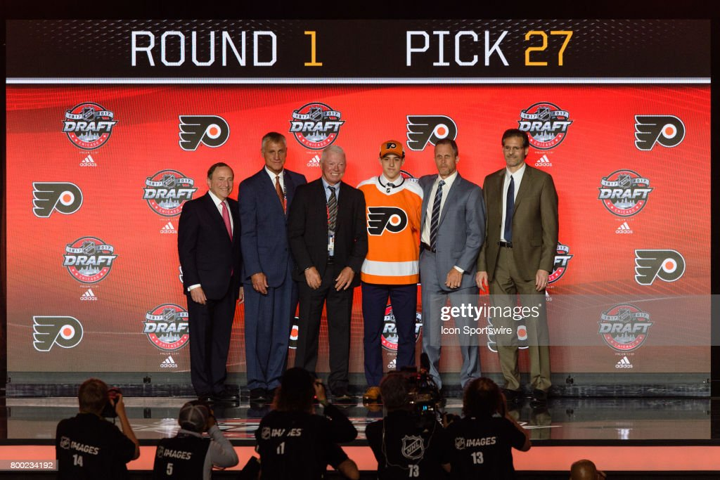 The Philadelphia Flyers select center Morgan Frost with the 27th pick in the first round of the 2017 NHL Draft on June 23, 2017, at the United Center in Chicago, IL.