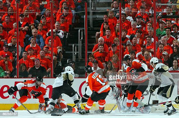 The Philadelphia Flyers skate against the Pittsburgh Penguins during Game Six of the Eastern Conference Quarterfinal Round of the 2009 NHL Stanley...