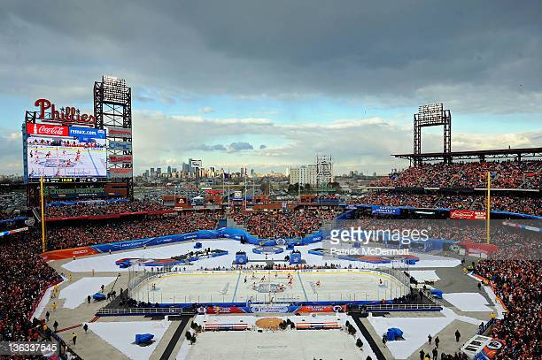 The Philadelphia Flyers take on the New York Rangers during the 2012 Bridgestone NHL Winter Classic at Citizens Bank Park on January 2, 2012 in...