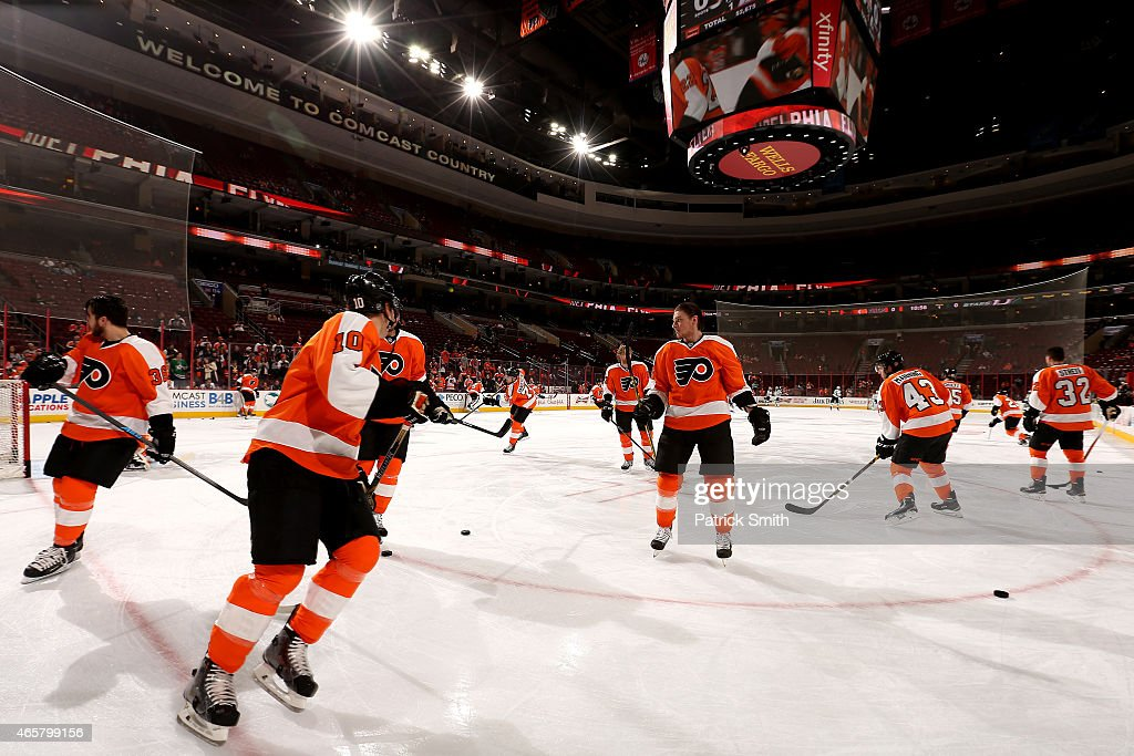 The Philadelphia Flyers warm up before playing the Dallas Stars at Wells Fargo Center on March 10, 2015 in Philadelphia, Pennsylvania.