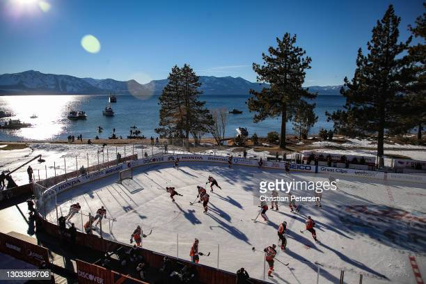 The Philadelphia Flyers warm-up prior to the 'NHL Outdoors At Lake Tahoe' game against the Boston Bruins at the Edgewood Tahoe Resort on February 21,...