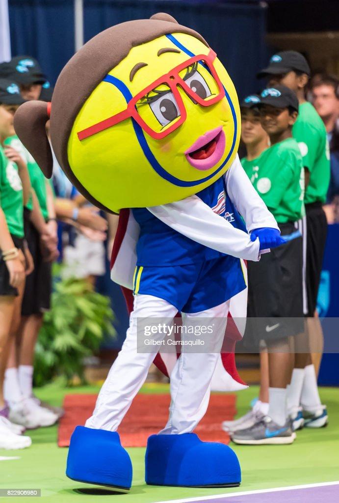 The Philadelphia Freedoms mascot Annette 'Nettie' King attends the 2017 Mylan World TeamTennis New York Empire vs Philadelphia Freedoms match at Michael J. Hagan Arena at St. Joseph's University on July 25, 2017 in Philadelphia, Pennsylvania