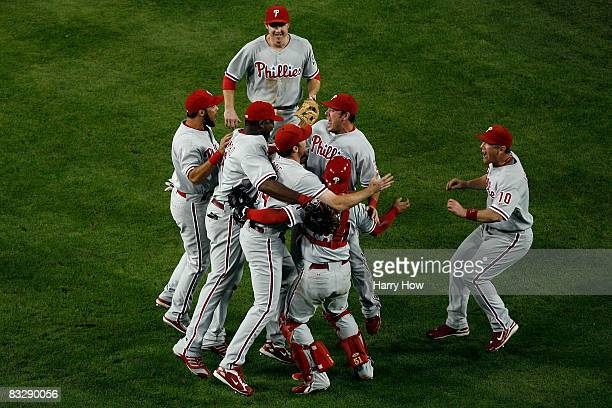 The Philadelphia Phillies celebrate after winning Game Five of the National League Championship Series 51 against the Los Angeles Dodgers during the...