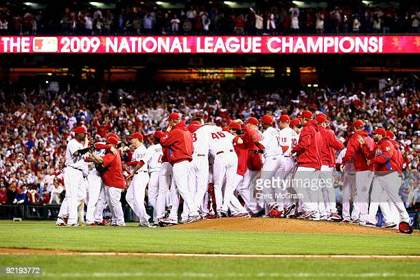 The Philadelphia Phillies celebrate defeating the Los Angeles Dodgers 104 to advance to the World Series in Game Five of the NLCS during the 2009 MLB...