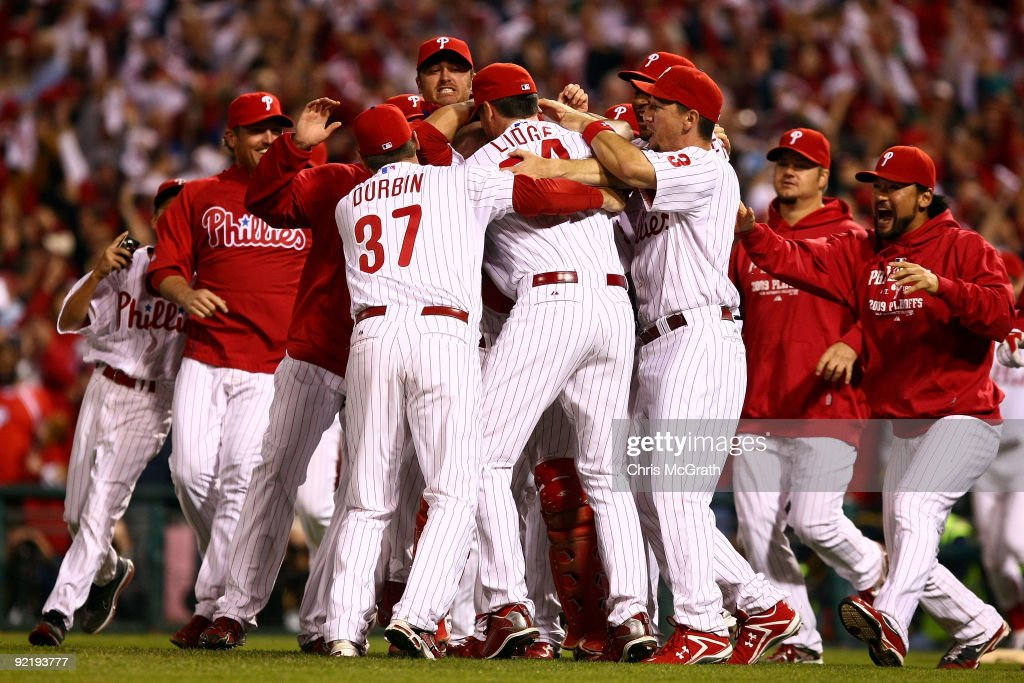 The Philadelphia Phillies celebrate defeating the Los Angeles Dodgers 10-4 to advance to the World Series in Game Five of the NLCS during the 2009 MLB Playoffs at Citizens Bank Park on October 21, 2009 in Philadelphia, Pennsylvania.