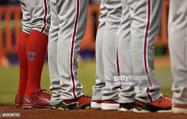 The Philadelphia Phillies line up during a game against the Miami Marlins at Marlins Park on September 7 2016 in Miami Florida