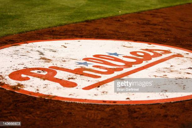 The Philadelphia Phillies logo is seen on their on deck circle during the game against the Chicago Cubs at Citizens Bank Park on April 27 2012 in...