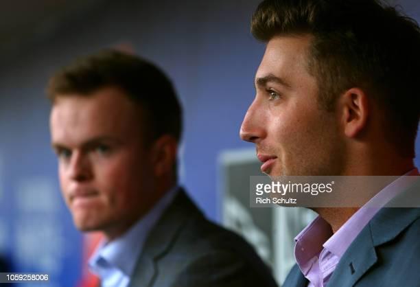 The Philadelphia Phillies named David Parkinson left and Austin Listi as the 2018 Paul Owens Award winners before a game against the Atlanta Braves...