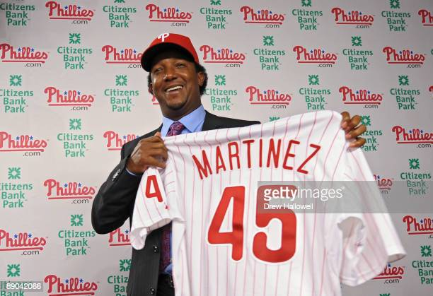 July 15: The Philadelphia Phillies Pedro Martinez holds up his jersey after joining the team on July 15, 2009 at Citizens Bank Park in Philadelphia,...