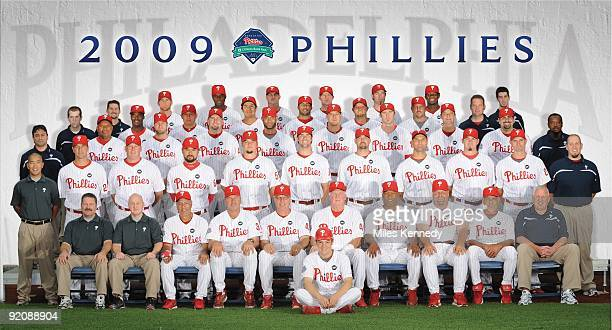 The Philadelphia Phillies pose for their 2009 team photo at Citizens Bank Park in Philadelphia Pennsylvania on July 8 2009 BACK ROW Joe Swanhart Brad...